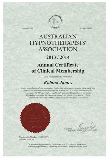 Aust Hypnotherapists Assoc Certificate