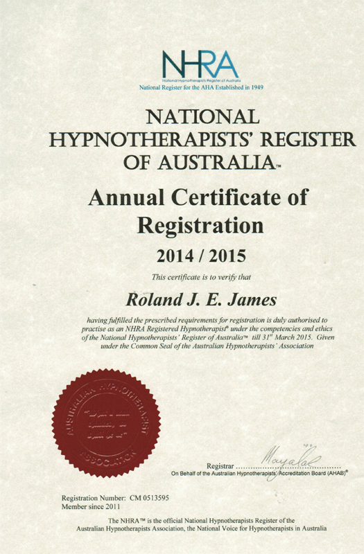 National Hypnotherapists Register of Australia certificate