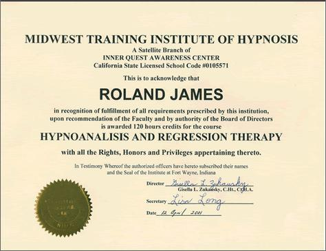 Hypno-analisis and Regression Therapy Certificate