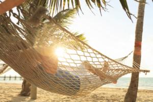 relaxing in a hammack in the sun