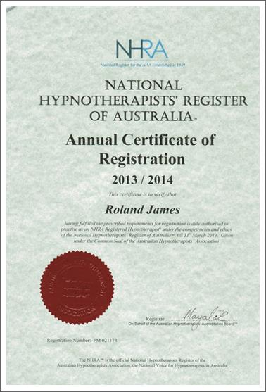Annual Hypnosis Certificate
