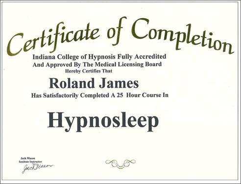 Hynosleep Certificate