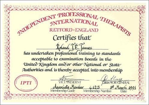Professional Therapist Certificate