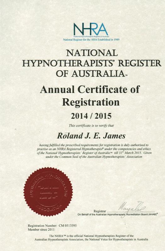 National Hypnotherapists Register of Australia certificate