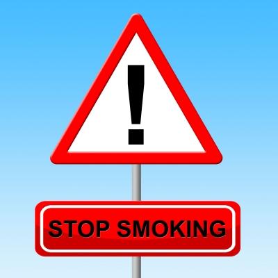 stop smoking street sign