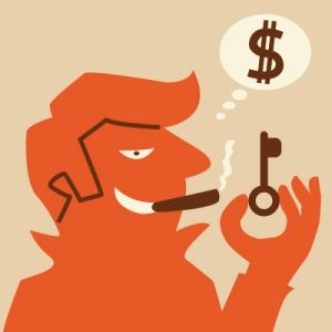 Smoking man spending money